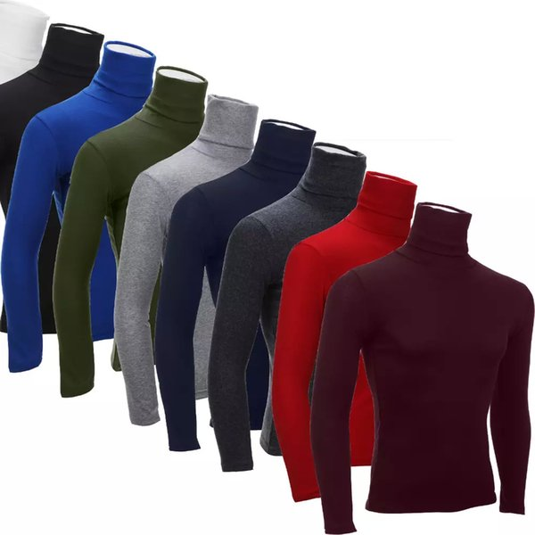 Man's Turtleneck T-Shirts Men Casual Solid Long-sleeved T shirts Autumn Winter Mans Slim Tshirts Tops 2016 New Clothing