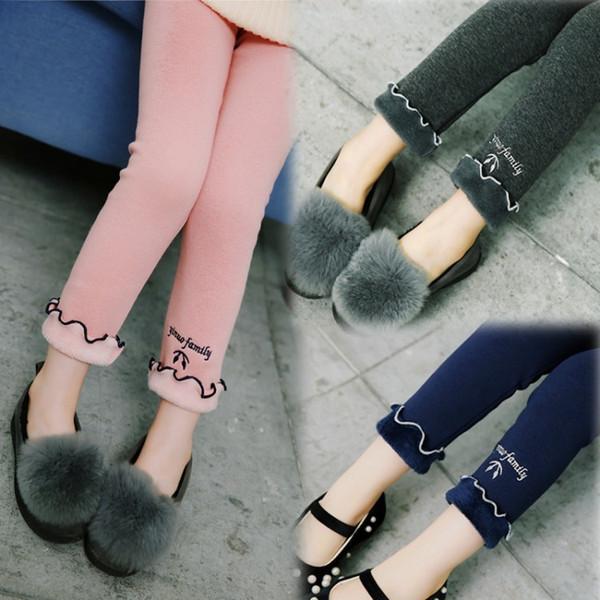 Leggings Plus épais Velours Pantalons Hiver Nouvelle Broderie Sauvage Enfants coréens Wave Edge Bébé Crayon