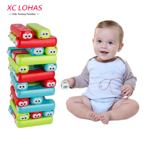 Cartoon Plastic Tower Jenga Game Stacker Building Blocks Baby Stacking Toy Brain Teaser Interactive Game Educational Toys