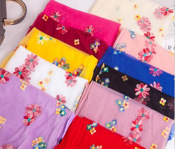 Silk towel lady spring summer autumn thin money embroider embroider scarf imitate silk gauze travel basks in shawl beach towel 180x130cm