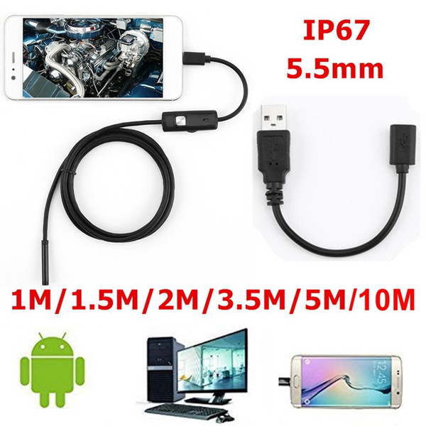 best selling 5.5mm Endoscope Camera Flexible IP67 Waterproof Inspection Borescope Camera for Android Computer 6 LEDs Adjustable