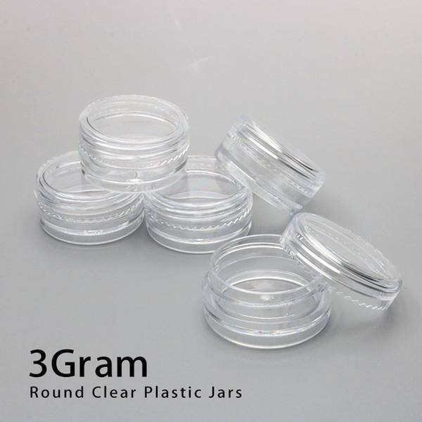 3ML Base Claire Vider le Récipient En Plastique Pots Pot 3Gram Taille Pour Cosmétique Crème Ombre À Paupières Ongles Poudre Bijoux