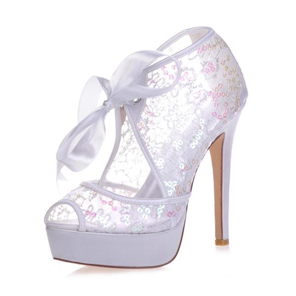 3128-34 Madeni Pul Grenadine Yüksek Topuklu Kadın Pompa Balo Parti Akşam Dans Düğün Gelin Ayakkabıları 2.8 cm Platformu Açık Peep Toe 12.7 cm Stiletto