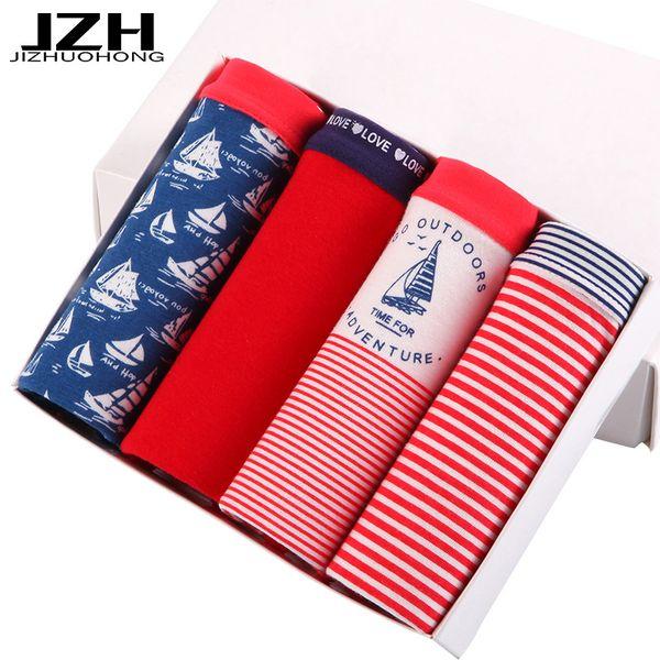 JZH 2017 4PCS/Lot Sexy Cotton Women Panties Cute Print Underpants Summer Stripe Intimates Middle Waist Breathable Lingerie Girls