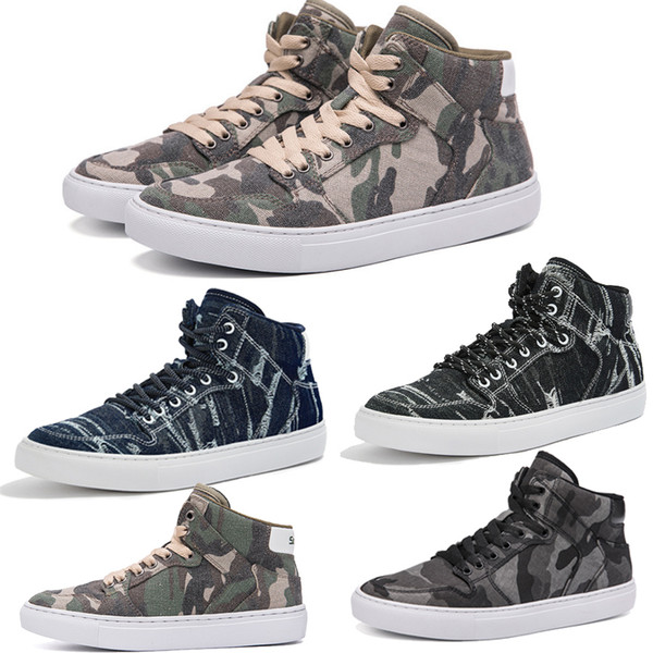 2019 new canvas fashion casual high board shoes girl men camouflage walking and work shoes for young people
