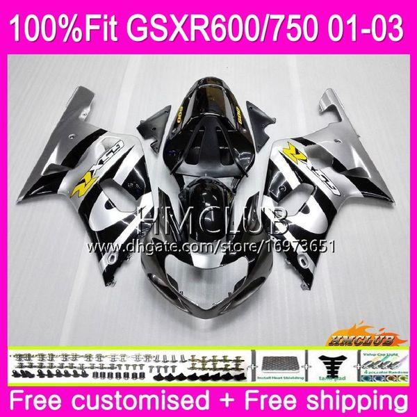 Inyección para SUZUKI GSXR 600 750 GSX-R750 GSXR600 01 02 03 4HM.2 GSX R600 GSX R750 K1 GSXR-600 GSXR750 2001 2002 2003 Plata carenado negro