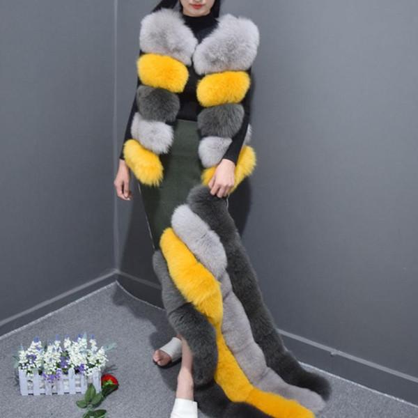 Inverno New Stripe Stitching Colore donna Faked Fur Vest Gilet lungo Staccabile Soft Fox Fur Vest Lunghezza regolabile Cappotto L1604