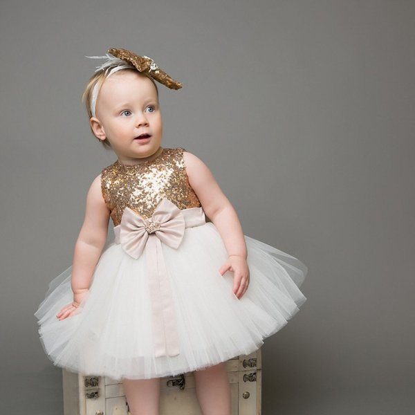 Ins Baby Girls Lentejuelas Vestido Niños Bowknot Corazón Corona Vestido de Fiesta Princesa Tutu Vestidos de Fiesta de Niños con Diadema 14800