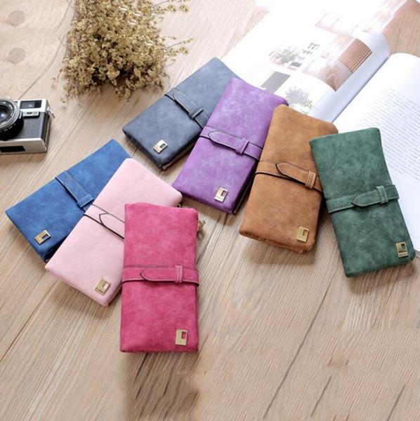 Women Wallets Designer Handbag Solid Color Drawstring Nubuck Leather Zipper Wallet Lady Two Fold More Color Long Design Purse CLS320