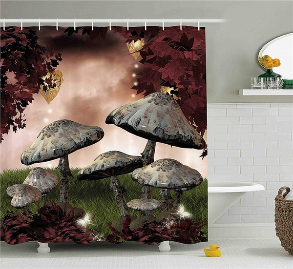Enchanted Fairytale Forest Scenery with Mushrooms and Fairies Magical Dark Image, Fabric Bathroom Decor Set with Hooks, 70 Inches