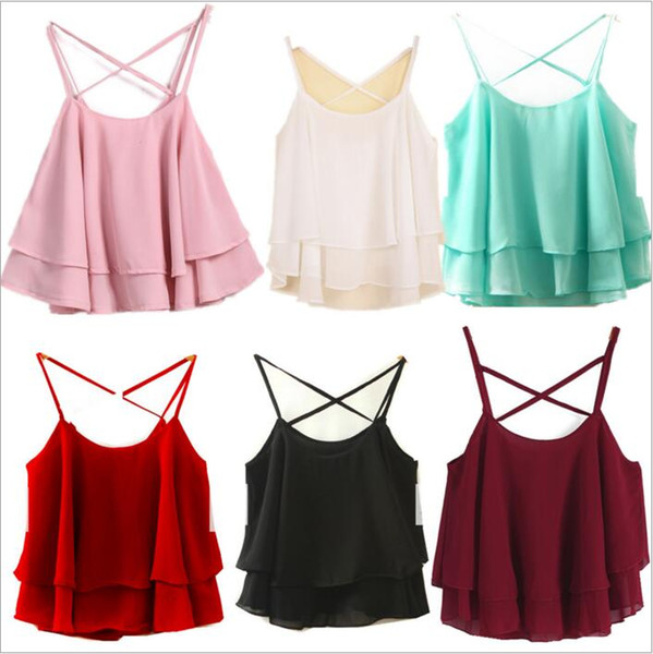 Camis Lotus Leaf Tanks Women Chiffon Fashion Tops Summer Casual Condole Belt Blouse Tees European America Sexy Blusas Women Clothing C3726