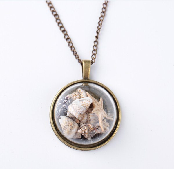 Hot ! 2018 Fashion Beach Wind Shell Conch Star Pendant Necklace Glass Moonlight Gemstone Ocean Element Necklace For Women Jewelry Accessorie