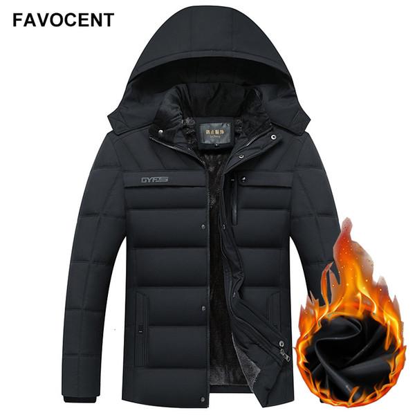 FAVOCENT Inverno Men Jacket Engrossar Jackets Outwear Windproof Parka Jaqueta Masculina SH190918 de revestimento morno Homens parkas com capuz velo Man