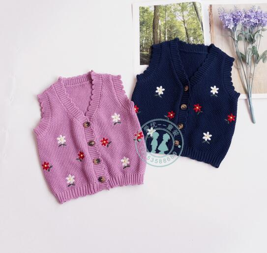 INS baby kids clothing sweater O-neck Knitted Pullover sweater 100% Cotton Boutique Flower Embroidery Design Girls pring fall sweater