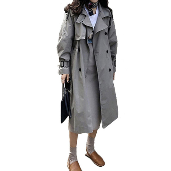 Autumn Spring Korean Fashion Double Breasted Mid-long Trench Coat Mujer Loose Belt Large Size Windbreak Outwear