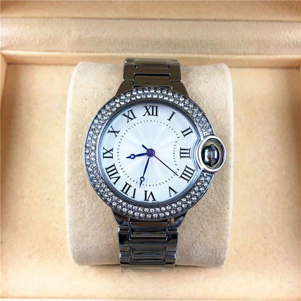 Fashion Style Women / man Watch Classic Silver Case Diamonds Steel Bracciale Chain Brand lover Watch Alta qualità di strass free box Di lusso