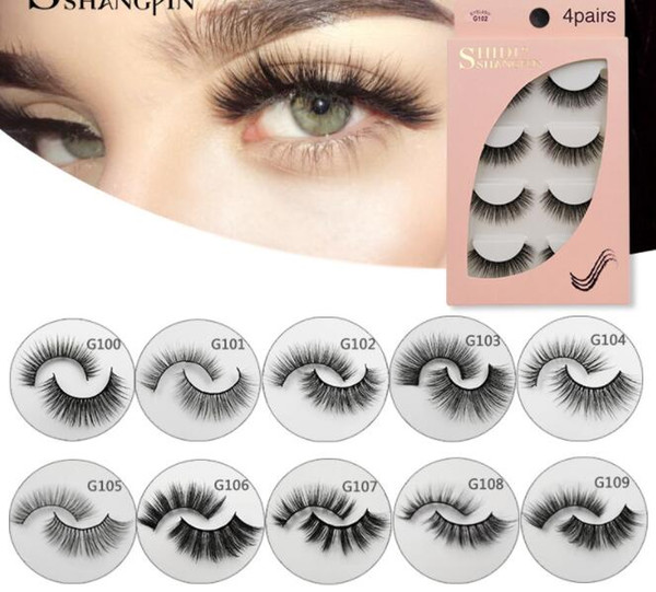 3D Mink False Eyelashes Natural Long Full Strip Lashes Handmade Fake EyelashMakeup Tools Accessories 4 Pairs/set with box package