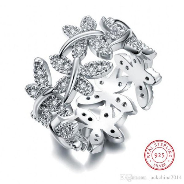 Victoria Wieck Sparkling Jewelry Luxury 100% Soild Pure 925 Sterling Silver Cute Butterfly White Sapphire Women Wedding Flower Band Ring Set