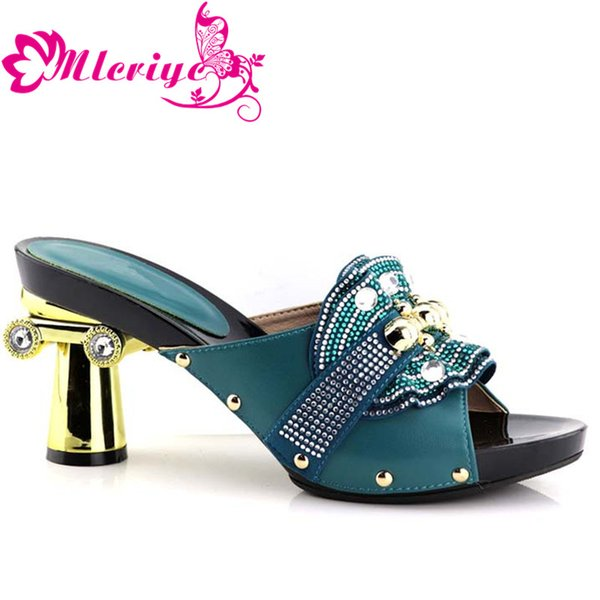 Green Color African Women Wedding Shoes Woman Fashion Open Toe Ladies Pumps Shoes Party Wedding Shoes Decorated with Rhinestone