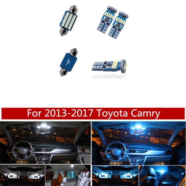 Комплект 14pcs Белого Ice Blue Canbus LED лампа лампа Интерьер Пакет для Toyota Camry 2013-2017 гг Карты Купол Магистральные свет двери