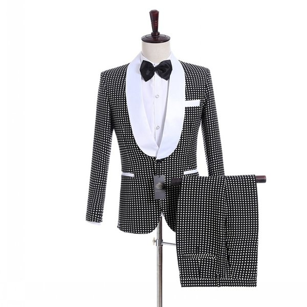 Handsome Groomsmen Shawl Lapel Groom Tuxedos Black With White Dot Men Suits Wedding/Prom Best Man Blazer/Bridegroom (Jacket+Pants+Tie) M982