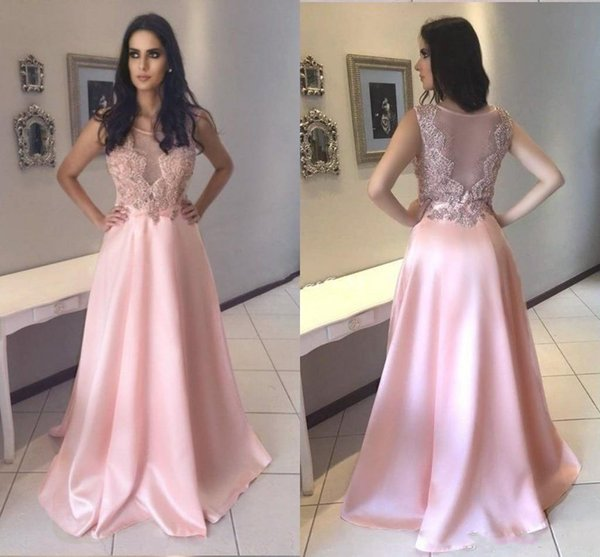 Baby Pink Prom Dresses 2019 Jewel Sweep Train Appliques Beads Long Arabic  Formal Evening Party Gowns Vestidos Plus Size Junior Prom Dress Junior Prom  ...