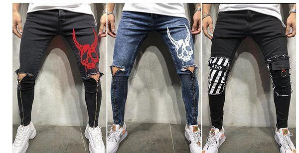 Erkek KAFATASı Tasarımcı Kot Bacak Fermuar Delik Biker Kaykay Spor Kalem Pantolon Pantalones