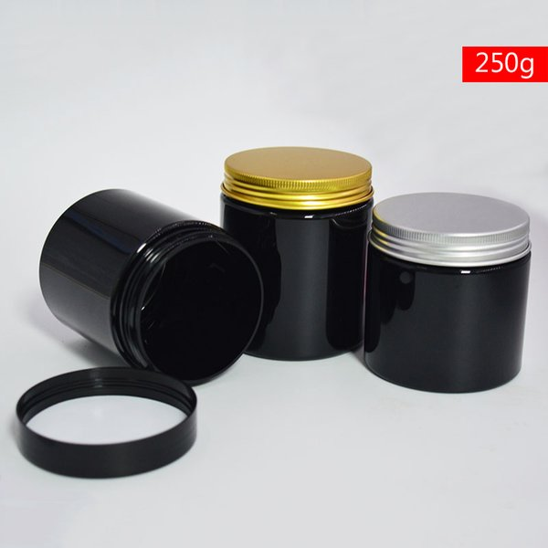 2PCS Black 250g Plastic Cream Jars Refillable Bottles Cosmetic Lotion Jars Empty Handmade Mask Mud Powder Packaging Containers