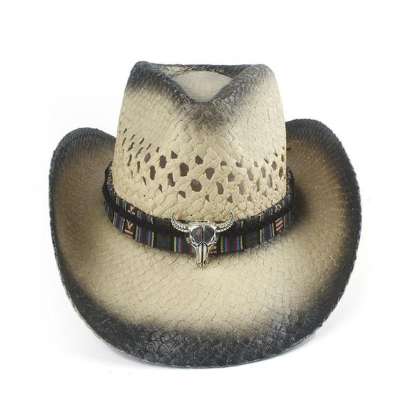 100% fait main Weave Straw Femmes Hommes creux Western Cowboy Hat Lady Dad Sombrero Hombre de cow-girl Casquettes Jazz Taille 56-58cm