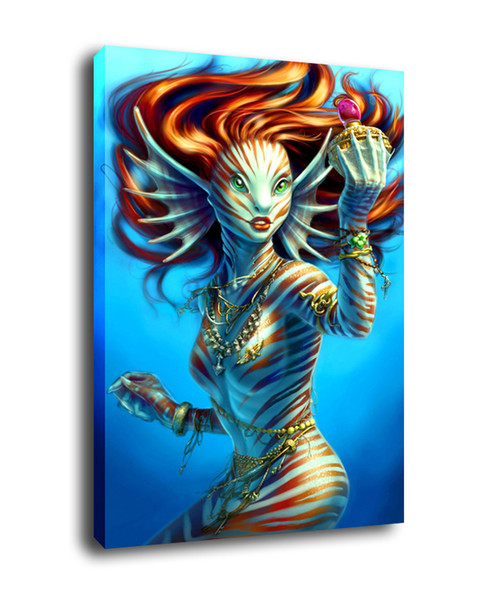 Fantasy Art The Pretty Mermaid,Oil Painting Reproduction High Quality Giclee Print on Canvas Modern Home Art Decor
