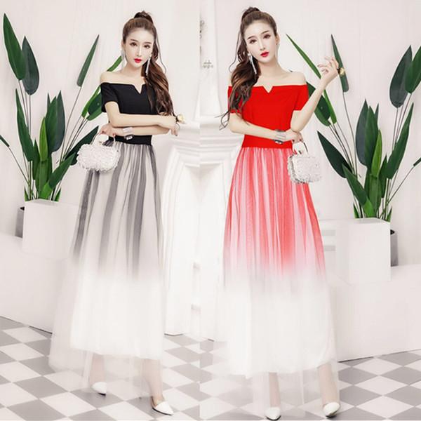 Women Sexy Slash Neck Ball Gown New Evening Dresses Fashion Banquet Bride Toast Costume Host Long Skirt QC0210