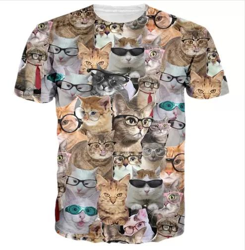 New Fashion Mens/Womans Animal Cute Cat Summer Style Tees 3D Print Casual T-Shirt Short Sleeve Quick Dry Tops Clothing Plus Size 7XL