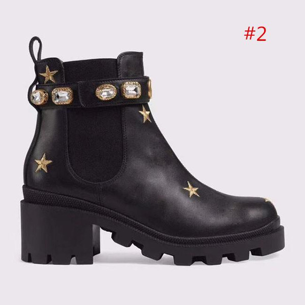 2019 high quality Womans Leather shoes Lace up Ribbon belt buckle ankle boots factory direct female rough heel round head autumn winter z2