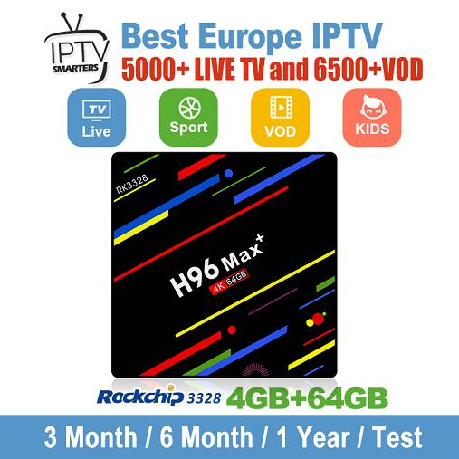 1 Year Global IPTV Subscription With H96 Max Plus 4GB 64GB Android 8 1 TV  Box Support Smart TV M3U Mag Box France UK Italy Germany Spain Projectores