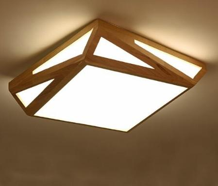 Großhandel Japanische Geometrische Decke Nordic Holz Schlafzimmer Lampe  Moderne Minimalistische Quadratische Kinder Kleine Wohnung Wohnzimmer  Lampen ...