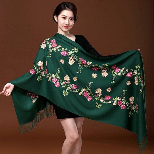New Green Broder Fleur écharpe de cachemire pour femmes hiver chaud long Glands écharpe Châle mode Châle Echarpes Déformations
