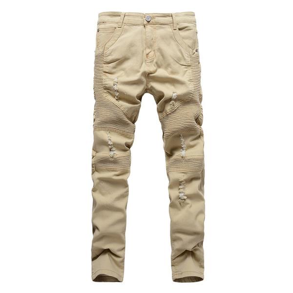 2017 nuovo arrivo kaki biker jeans pieghettato design mens skinny slim pantaloni in denim stretch jeans strappati hip-hop street distrutti 32-36