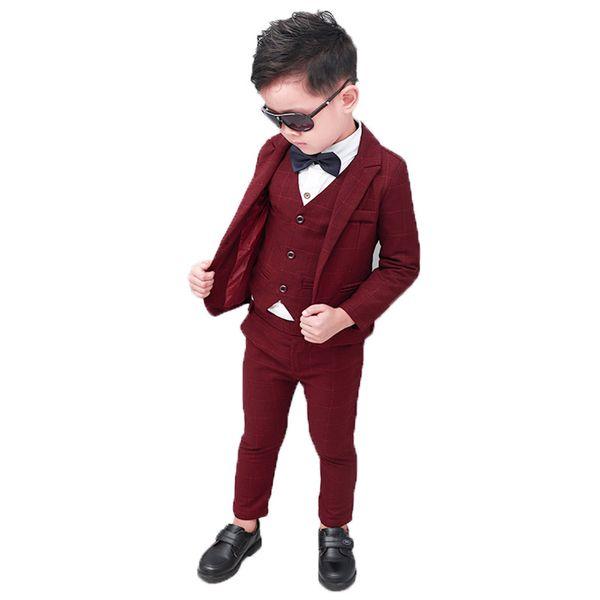Flower Boys Formal Blazer Suit Kids Jacket Vest Pants 3Pcs Wedding Tuxedo Clothing Set Children Prom Costume Performance Dress