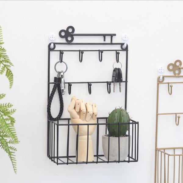 Wall-Mount Key Mail Holders with 7 Hooks and Storage Basket, Decorative Wire Letter Organizer Hair Accessory Rack for Entryway, Home, Office