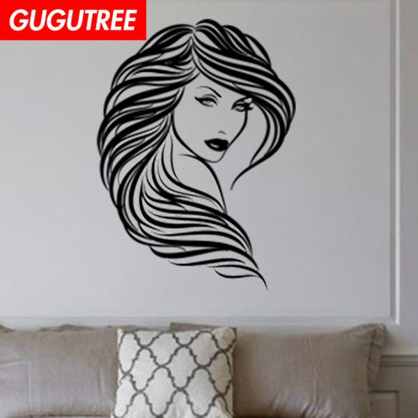 Decorate Home Beauty Hair Salon girl cartoon art wall sticker decoration Decals mural painting Removable Decor Wallpaper G-2000