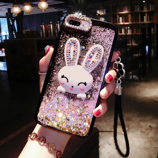 New Bling Glitter Dynamic Quicksand Liquid Case For iPhone xs max xr X 6 7 8 6S plus Cute Diamond Rabbit Ear Phone Cases For iPhone 7 8 Plus