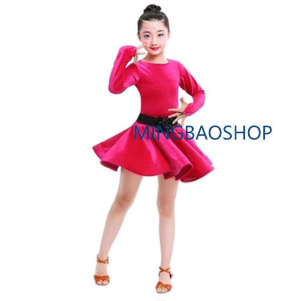 2019 Girls Latin Dresses for Dancing Ballroom Ballet Dance Dress Rumba Samba Velvet Children Samba Tango Skirt dance dress