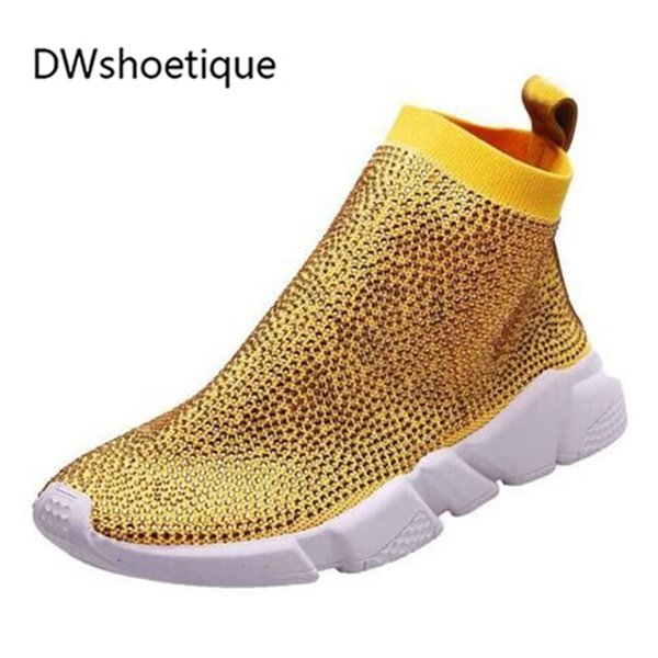 bling bling colors crystal 2019 big size crystal knit women sneakers pointed toe rubber sole sock boots