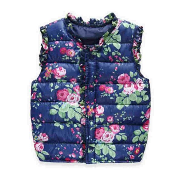 Buena calidad Niñas niños chalecos niños abajo algodón cálido chaleco bebé niñas dulce Floral chaleco niños ropa chaleco chaqueta abrigo