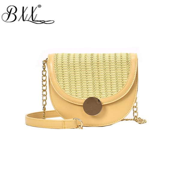 BXX Bag / 2019 New Women Flap Pocket Summer Chain Fashion Wild Woven Saddle Bags Shoulder Messenger Bags ZC487