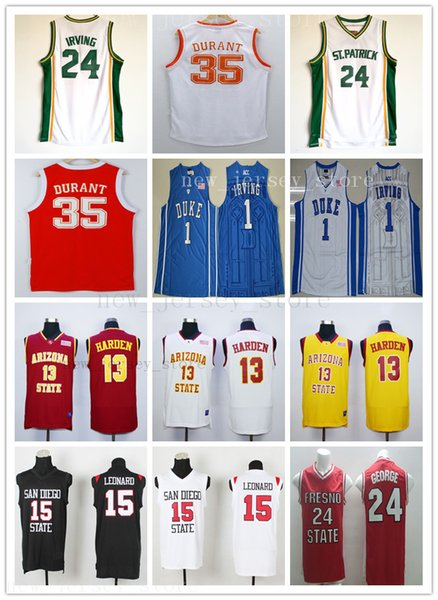 2019 New Jersey NCAA Kawhi 15 Leonard Maillot Kevin 35 Durant Paul 24 George Kyrie 1 Université de Irving Basketball James 13 Harden Maillots