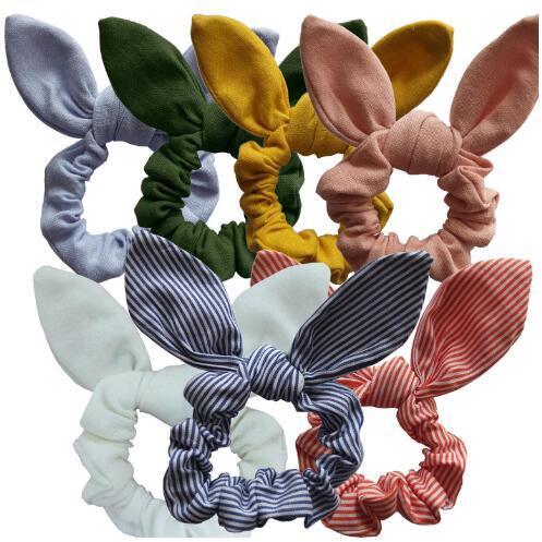 Fascia per capelli per orecchie da ragazza Carino fiore stampato orecchie di coniglio Anello da donna Cinturino per capelli da donna scozzese Bambini Tessuto di cotone Fiocco Testa Accessori per capelli avvolgenti LT1224