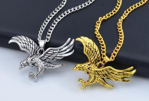 Hawk Eagle Colgantes Collar Oro Astilla Color Acero inoxidable Animal Hawk Bird Wing Charm Retro Punk Hip Hop Hombres Mujeres Joyería