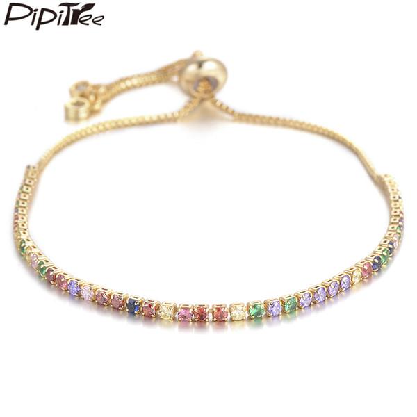 Bracelets de charme de tasque Pipitree Multi Cubic Zirconium de tennis bracelet bracelet pour femme cuivre ajustable chaîne charme bracelet de charme bijoux puls ...