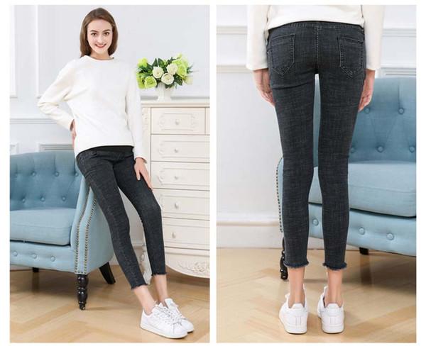 Femmes enceintes Jeans Slim Petits Pieds Estomac Ascenseur Respirant Taille Haute Unicolore Slim Fit Loisirs Garder Au Chaud 24